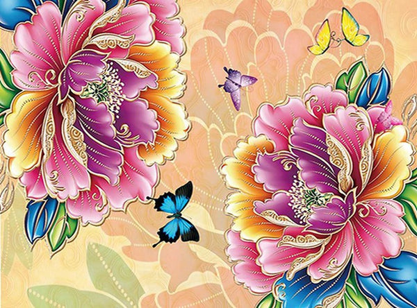 DIY-DIAMOND PAINTING/PAINT WITH DIAMONDS-BUTTERFLIES AND FLOWERS