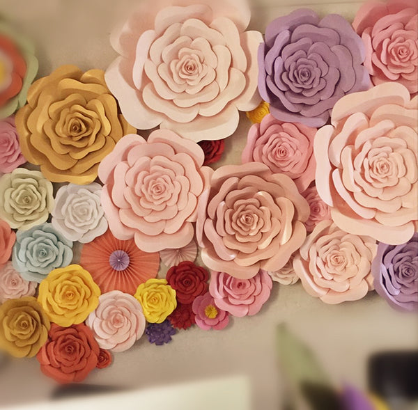 DIY-GIANT PAPER DECORATIVE FLOWERS - 12 COLOR OPTIONS