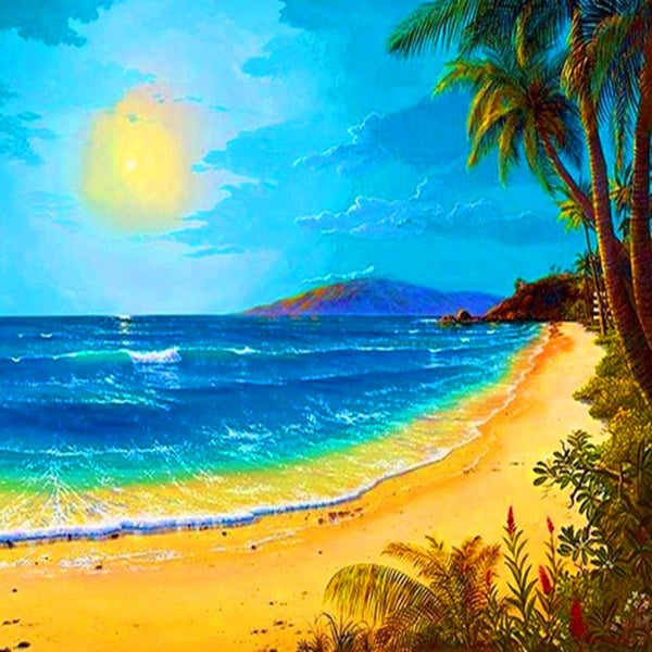 DIY-DIAMOND PAINTING/PAINT WITH DIAMONDS-TROPICAL ISLAND