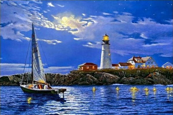 DIY-DIAMOND PAINTING/PAINT WITH DIAMONDS- NIGHT SAIL