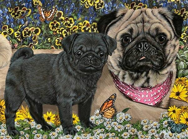 DIY-DIAMOND PAINTING/PAINT WITH DIAMONDS-PUGS AND BUTTERFLIES