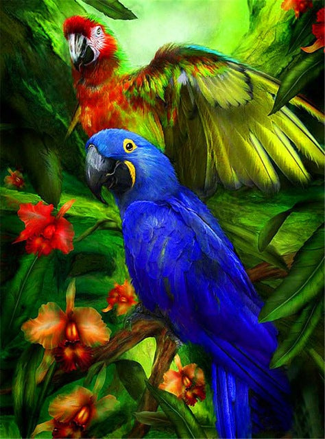 DIY-DIAMOND PAINTING/PAINT WITH DIAMONDS-TROPICAL BIRDS