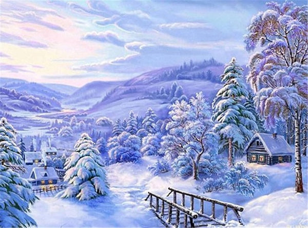 DIY-DIAMOND PAINTING/PAINT WITH DIAMONDS-WINTER SNOW