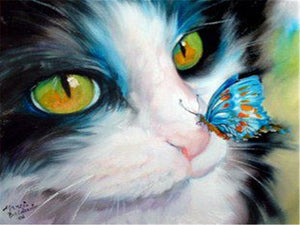 DIY-DIAMOND PAINTING/PAINT WITH DIAMONDS-KITTY AND BUTTERFLY