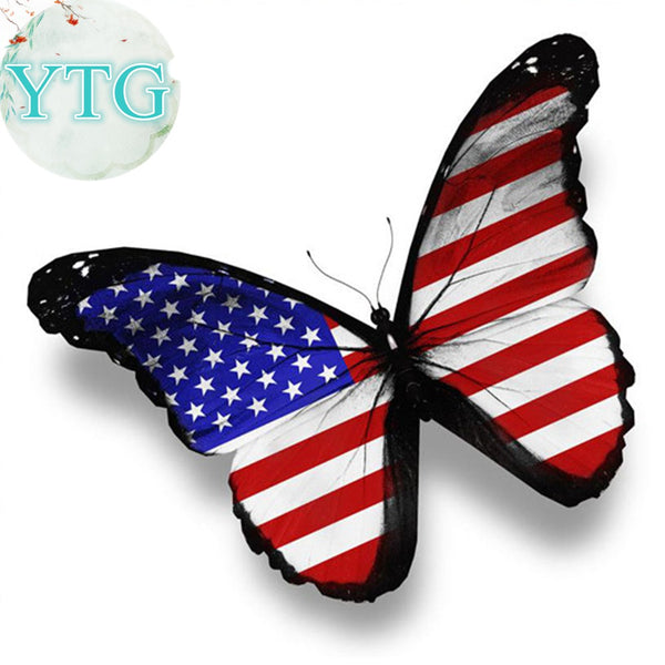 DIY-DIAMOND PAINTING/PAINT WITH DIAMONDS-PATRIOTIC BUTTERFLY