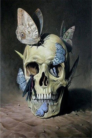 DIY-DIAMOND PAINTING/PAINT WITH DIAMONDS-BUTTERFLY SKULL