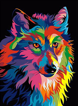 DIY-DIAMOND PAINTING/PAINT WITH DIAMONDS-COLORFUL WOLF