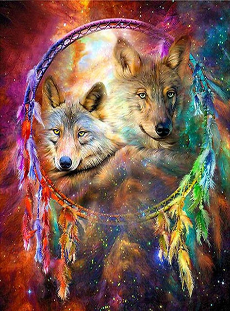 DIY-DIAMOND PAINTING/PAINT WITH DIAMONDS-WOLF DREAM CATCHER