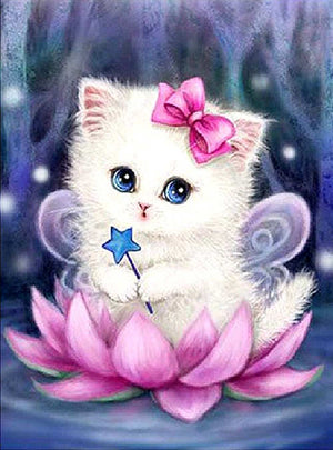 DIY-DIAMOND PAINTING/PAINT WITH DIAMONDS-FAIRY KITTEN