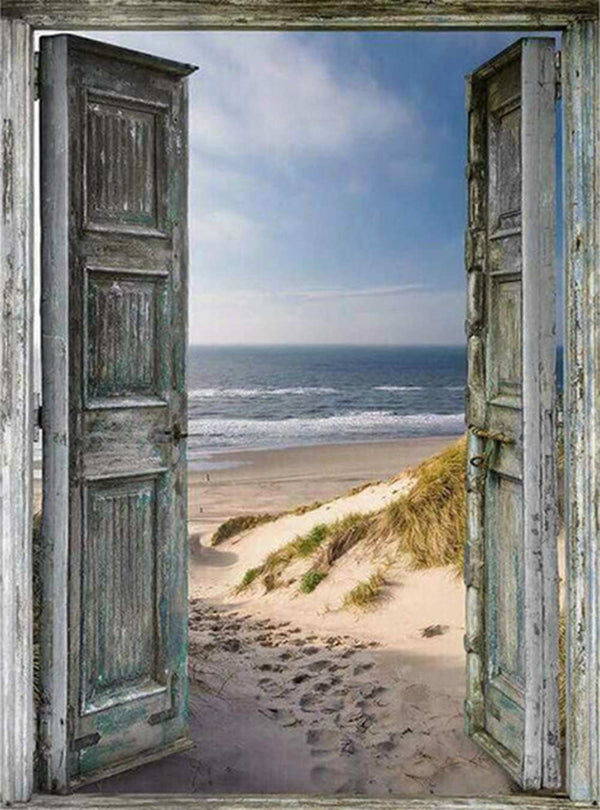 DIY-DIAMOND PAINTING/PAINT WITH DIAMONDS-DOOR TO THE OCEAN