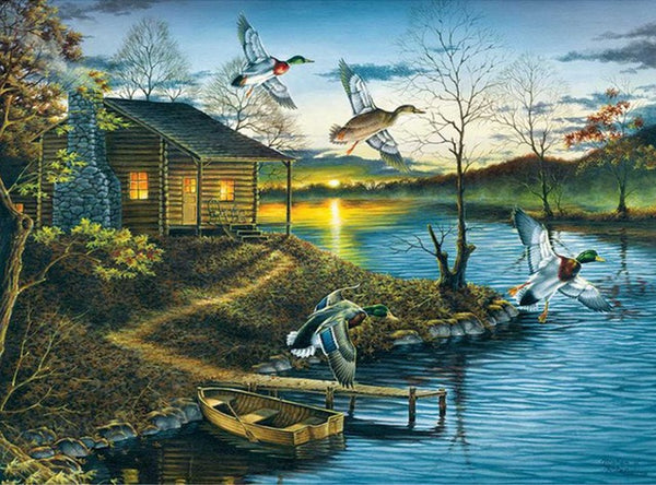 DIY-DIAMOND PAINTING/PAINT WITH DIAMONDS-CABIN ON THE LAKE