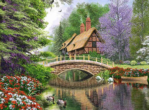 DIY-DIAMOND PAINTING/PAINT WITH DIAMONDS-COTTAGE ON THE RIVER
