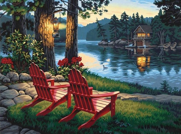 DIY-DIAMOND PAINTING/PAINT WITH DIAMONDS-LAKE RELAXATION