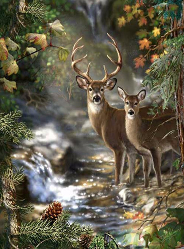 DIY-DIAMOND PAINTING/PAINT WITH DIAMONDS-DEER IN THE WOODS