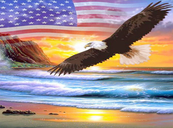 DIY-DIAMOND PAINTING/PAINT WITH DIAMONDS-PATRIOTIC EAGLE
