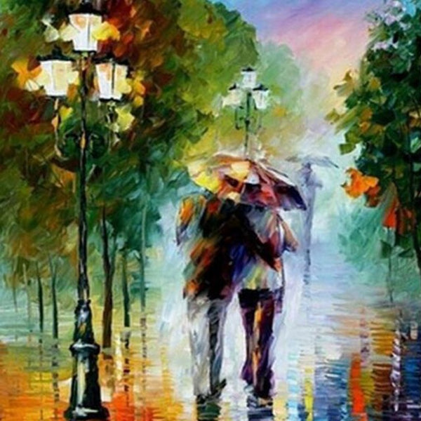 DIY-DIAMOND PAINTING/PAINT WITH DIAMONDS-LOVE IN THE RAIN