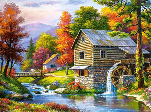 DIY-DIAMOND PAINTING/PAINT WITH DIAMONDS-RURAL STREAM