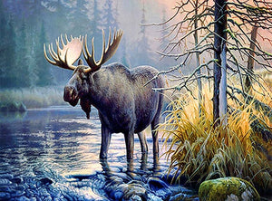 DIY-DIAMOND PAINTING/PAINT WITH DIAMONDS-MAJESTIC MOOSE