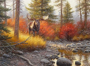 DIY-DIAMOND PAINTING/PAINT WITH DIAMONDS-MOOSE IN THE FOREST
