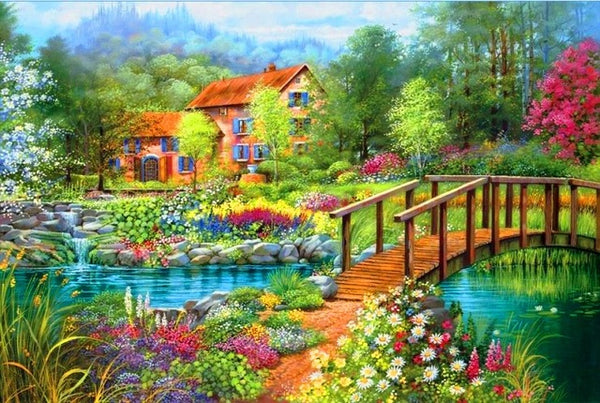 DIY-DIAMOND PAINTING/PAINT WITH DIAMONDS-PEACEFUL STREAM