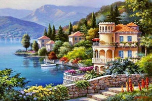 DIY-DIAMOND PAINTING/PAINT WITH DIAMONDS-SEASIDE VILLA