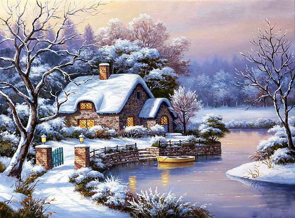 DIY-DIAMOND PAINTING/PAINT WITH DIAMONDS-SNOW ON THE RIVER