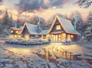 DIY-DIAMOND PAINTING/PAINT WITH DIAMONDS-SNOWY LODGE