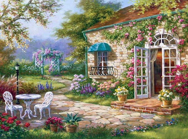 DIY-DIAMOND PAINTING/PAINT WITH DIAMONDS-GARDEN COTTAGE