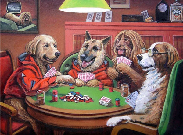DIY-DIAMOND PAINTING/PAINT WITH DIAMONDS-DOGGIE POKER GAME