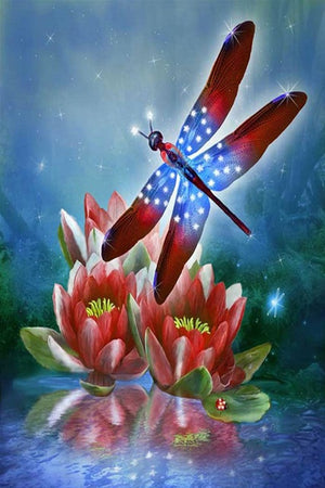 DIY-DIAMOND PAINTING/PAINT WITH DIAMONDS-RED, WHITE, AND BLUE DRAGONFLY