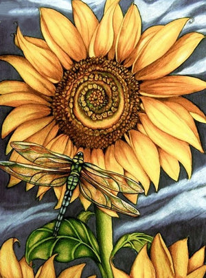 DIY-DIAMOND PAINTING/PAINT WITH DIAMONDS-DRAGONFLY SUNFLOWER