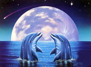 DIY-DIAMOND PAINTING/PAINT WITH DIAMONDS-DOLPHINS UNDER THE MOON