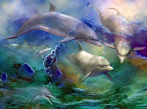 DIY-DIAMOND PAINTING/PAINT WITH DIAMONDS-SWIMMING DOLPHINS