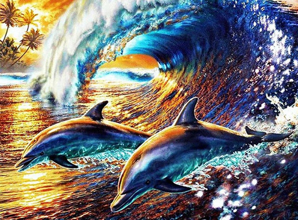 DIY-DIAMOND PAINTING/PAINT WITH DIAMONDS-DOLPHINS IN THE WAVES