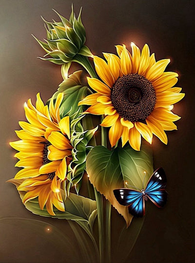 DIY-DIAMOND PAINTING/PAINT WITH DIAMONDS-BRILLIANT SUNFLOWER