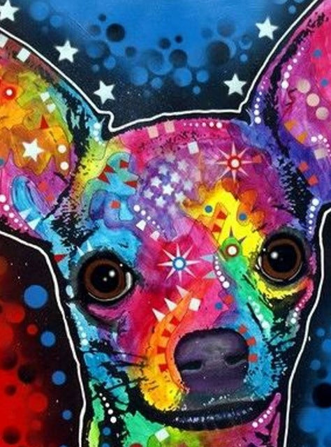 DIY-DIAMOND PAINTING/PAINT WITH DIAMONDS-COLORFUL CHIHUAHUA