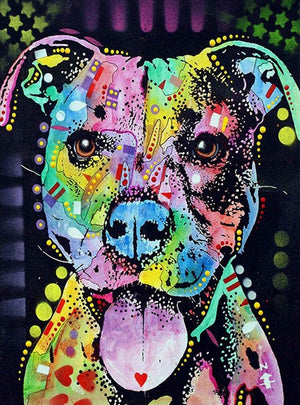 DIY-DIAMOND PAINTING/PAINT WITH DIAMONDS-COLORFUL PIT BULL