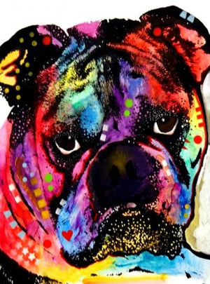DIY-DIAMOND PAINTING/PAINT WITH DIAMONDS-COLORFUL ENGLISH BULLDOG