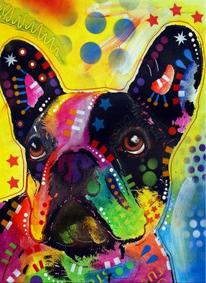 DIY-DIAMOND PAINTING/PAINT WITH DIAMONDS-COLORFUL PUG