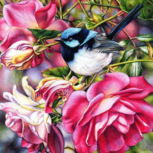 DIY-DIAMOND PAINTING/PAINT WITH DIAMONDS-FLORAL BIRD