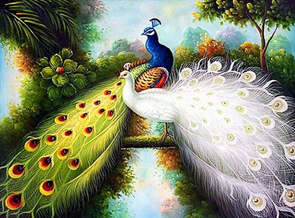 DIY-DIAMOND PAINTING/PAINT WITH DIAMONDS-ELEGANT PEACOCKS