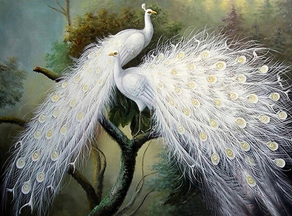 DIY-DIAMOND PAINTING/PAINT WITH DIAMONDS-WHITE PEACOCKS