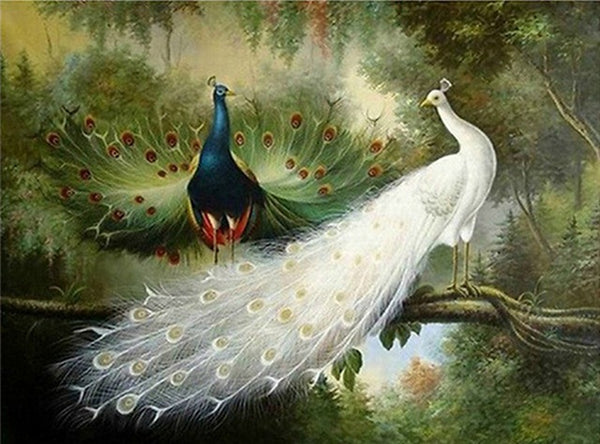 DIY-DIAMOND PAINTING/PAINT WITH DIAMONDS-WHITE PEACOCK