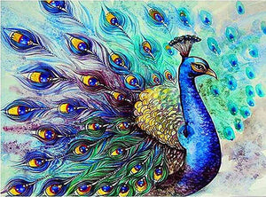 DIY-DIAMOND PAINTING/PAINT WITH DIAMONDS-ELEGANT PEACOCK