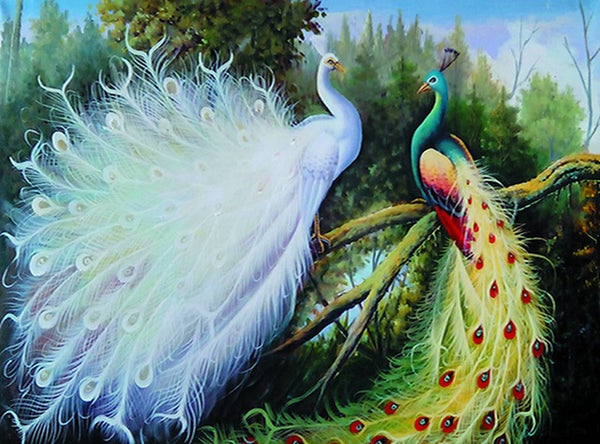 DIY-DIAMOND PAINTING/PAINT WITH DIAMONDS-PEACOCKS