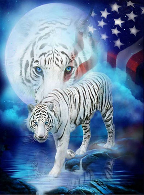 DIY-DIAMOND PAINTING/PAINT WITH DIAMONDS-PATRIOTIC TIGER