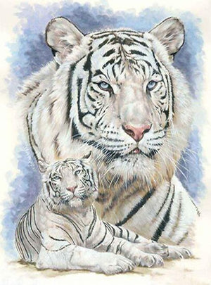 DIY-DIAMOND PAINTING/PAINT WITH DIAMONDS-WHITE TIGERS