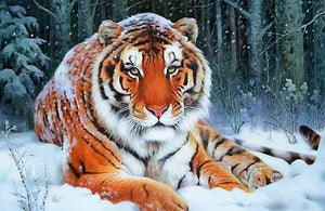 DIY-DIAMOND PAINTING/PAINT WITH DIAMONDS-SNOWY TIGER