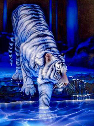 DIY-DIAMOND PAINTING/PAINT WITH DIAMONDS-WHITE TIGER