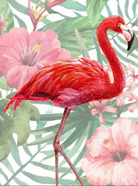 DIY-DIAMOND PAINTING/PAINT WITH DIAMONDS-RED FLAMINGO